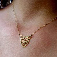 Filigree Leopard Head Necklace