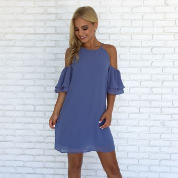 Blitz Double Bell Sleeve Dress in Dusty Blue