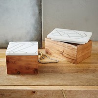 Roar + Rabbit Marble + Wood Jewelry Boxes