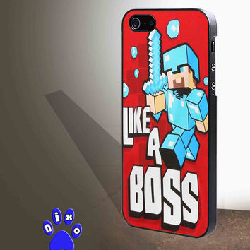 Cute Minecraft Like a Boss for iphone 4/4s/5/5s/5c/6/6+, Samsung S3/S4/S5/S6, iPad 2/3/4/Air/Mini, iPod 4/5, Samsung Note 3/4 Case * NP*