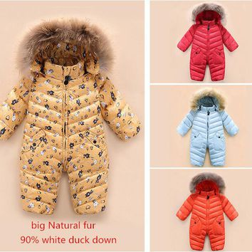 High quality ! 2018 New brand winter outerwear baby rompers duck down coat for newborn snowsuit infant costume , big nature fur