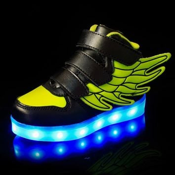 7 Colors Light Kids USB Charging LED Luminous Shoes, Fashion Soft Leather Boys&Girls Glowing Sneakers With Wings