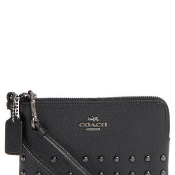 COACH 'Corner Zip' Studded Leather Pouch | Nordstrom