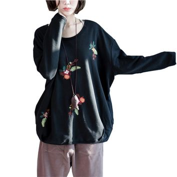 Oversized Black Women Sweatshirts 4XL 5XL 6XL Autumn Winter Baggy Embroidery Floral Women Pullover Plus Size 7XL 8XL 9XL Hoodies