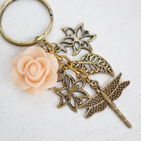 Dragon fly Key Chain, Dragonfly Jewelry,Peach Flower Keychain, Antique Brass,Tree Branch Key Chain,Tree,Leaf, Insect Jewelry,Woodland