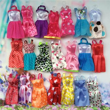 10pcs Mix Sorts Handmade Girl Doll Mini Party Dress Fashion Clothes For Barbie Doll Kid Toys Gift Play House Dressing Up Costume