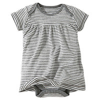 Burt's Bee's Baby™ Organic Cotton Short Sleeve Dress in Grey Stripe