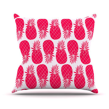 "Anchobee ""Pinya Neon Pink"" Magenta Pattern Outdoor Throw Pillow"