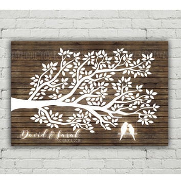 Custom Wedding Guest Book PRINTABLE, Rustic Wood Love Birds Wedding Guest Book Alternative, Tree Guest Book, Guestbook Poster, 150 leaves