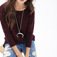 FOREVER 21 Slub Knit Dolman Sweater Burgundy/Black
