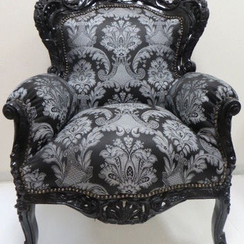 SOLD Black  baroque throne upholstered with classical silver black fabric French Baroque chair