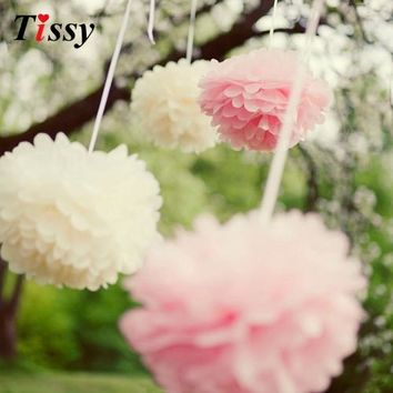 5PCS 6inch(15CM) Multi Colors Tissue Paper Pom Poms Handmade Paper Flower Ball Pompom Home Kids Birthday&Wedding Car Decoration