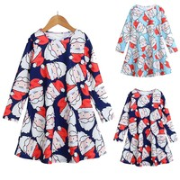 Toddler Kid Baby Girls Christmas Santa Claus printing Long Sleeve o-neck Party Princess Dress winter wear casual outfit clothes