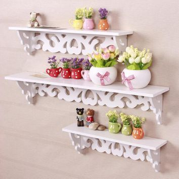2017 Newly M Model White Wooden Carved Wall Shelf Display Hanging Rack Storage Rack Home Decor