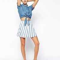American Apparel Striped Denim Circle Skirt at asos.com