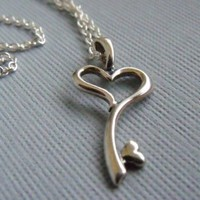 Heart Key Necklace In Sterling Silver by pinkingedgedesigns