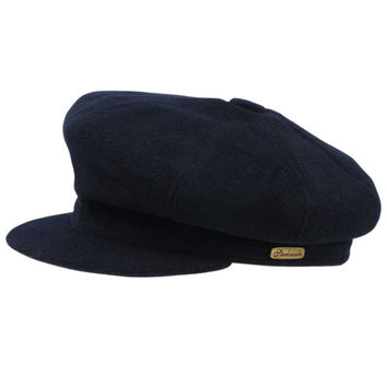 Newsboy cap made of navy blue woolen cloth. Leather sweatband.
