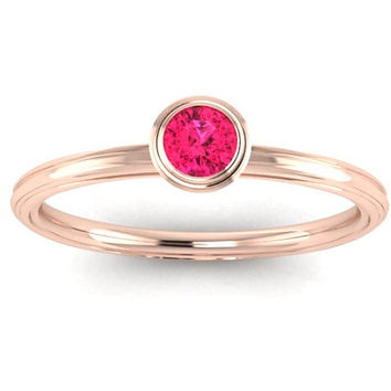 14K  Pink Sapphire Promise Ring Engagement Ring Stack Band Wedding Band  Right Hand Ring. OR00012