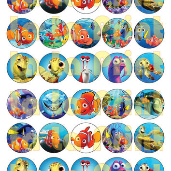 40 Finding Dory Nemo Digital Party Stickers Circles size 1'' and 1.5'' sheet A4 (8.5''x11'') Bottle Cap images Cupcake Toppers