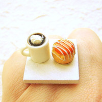 Coffee Ring Kawaii Cute Food Jewelry Cream Puff by SouZouCreations