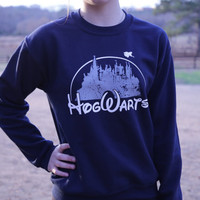 Harry Potter Clothing Hogwarts Castle Blue Crewneck Sweatshirt