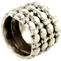 Sterling Silver Wide Cigar Band Ring