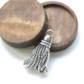 Metal Tassel Charms Antique Silver Finish 12x21mm Set of 20 A8244