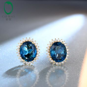 14KT Yellow Gold 9x11mm Oval Cut  9.20ct Blue Topaz Natural Diamond Stud Earrings