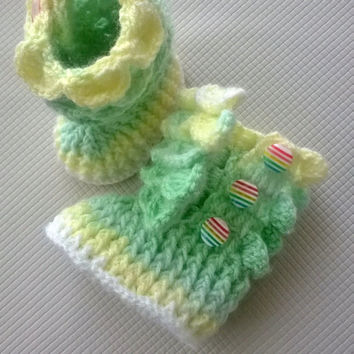Crochet Baby Booties. Crocodile Stitch Baby Booties. Baby Slippers.Ready to Shipping . 0-3 Month Size. Baby Socks Baby Gift