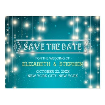 Chic Turquoise String Lights Wedding Save the Date Postcard
