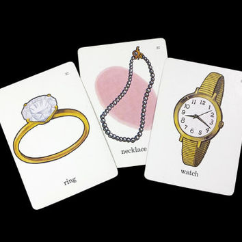 Vintage Jewelry Flashcards, 1960s Jewellery Picture Word Flash Cards Ephemera Collage, Illustrated Diamond Ring Pearl Necklace Gold Watch
