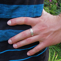 Silver Stacking Rings, 3 Thick Hammered Simple Bands, Mens Ring, Unisex, Custom Made For You