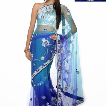 Blue color bridal saree
