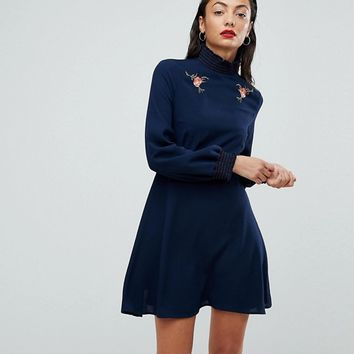 Fashion Union Tall High Neck Skater Dress With Contrast Shirred Collar And Cuffs at asos.com