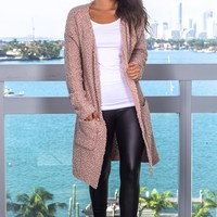 Taupe Fuzzy Open Cardigan