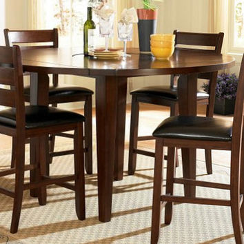 Homelegance Ameillia Drop Leaf Round Counter Height Table in Dark Oak