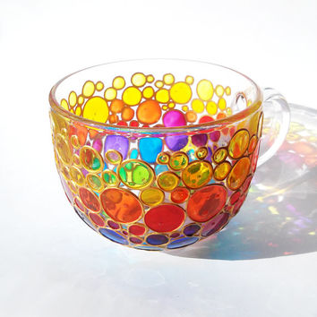 Large Coffee Mug Jumbo Glass Cup Glass Tea Mug Hand painted Sun catcher big cup Multi Coloured Bubbles Mug Painted Glass cup