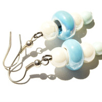 Blue earrings Dangle earrings Blue and white porcelain beads earrings Elegant earrings
