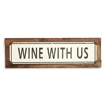 Poncho & Goldstein 'Wine with Us' Sign - Beige