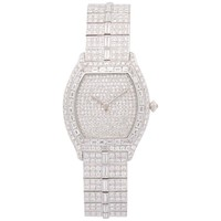 Lady's Cartier Platinum Tortue Full Diamond Bracelet Watch