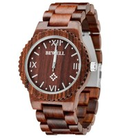 MEKU Men's Wooden Watch Handmade Timepieces with Natural Sandalwood Gift Watch Red Father Day Gifts