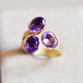 bold Adjustble purple lavender lilach natural genuine faceted amethyst triple golden ring by YUNILIsmiles