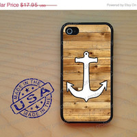 SALE Anchor wooden look Rubber iPhone Case iPhone 4, iPhone 5 case, iPhone 4S case, iPhone cover, Hard case. nautical iPhone 5 cover