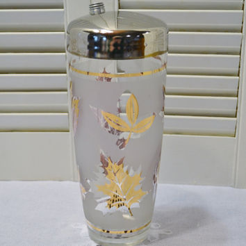 Vintage Cocktail Shaker White Gold Leaf Design Chrome Lid PanchosPorch