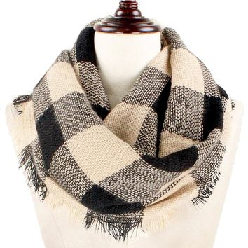 Black and White Buffalo Plaid Woven Infinity Scarf