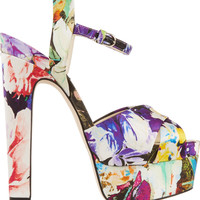 Brian Atwood - Madison printed satin platform sandals
