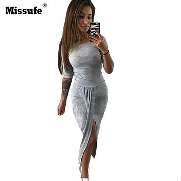 Missufe 6 Colors Split Sexy Pencil Long Dress Women Club Bandage Bodycon Maxi Dress 2018 Autumn Female Wrap Party Robe Vestidos