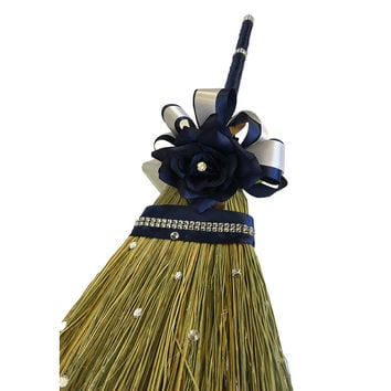 Wedding Jumping Broom-Navy Blue and Ivory