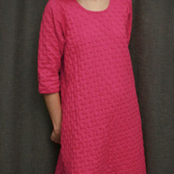 Hot Pink 3/4 Sleeve 3/4 Length Gown Cotton Waffle, Made In The USA   Simple Pleasures, Inc.