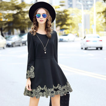 Long Sleeve Embroidery Black Dress Embellished Casual Style Plus Size Fit Flare Winter Dresses L to 5XL
